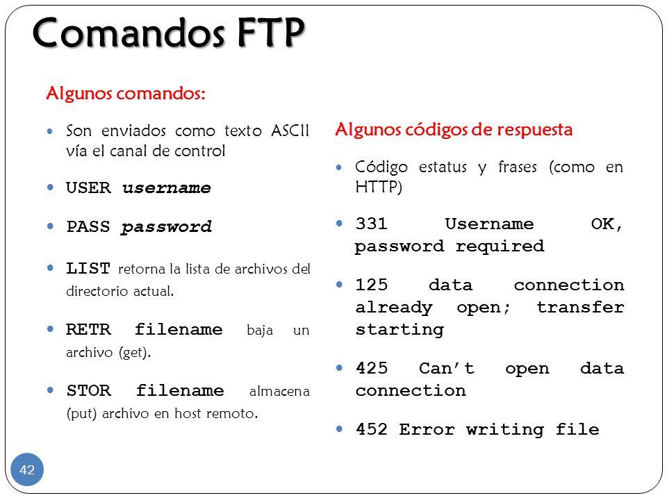 Algunos comandos: Son enviados como texto ASCII vía el canal de control USER username PASS password LIST retorna la lista de archivos del directorio a
