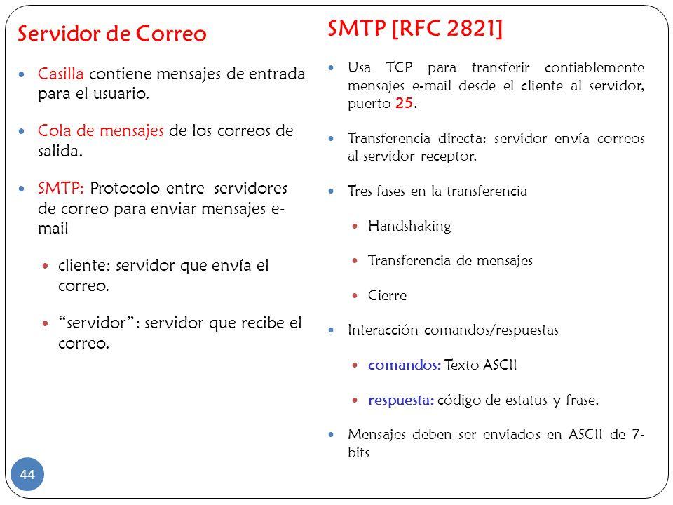 Servidor de Correo Casilla contiene mensajes de entrada para el usuario. Cola de mensajes de los correos de salida. SMTP: Protocolo entre servidores d