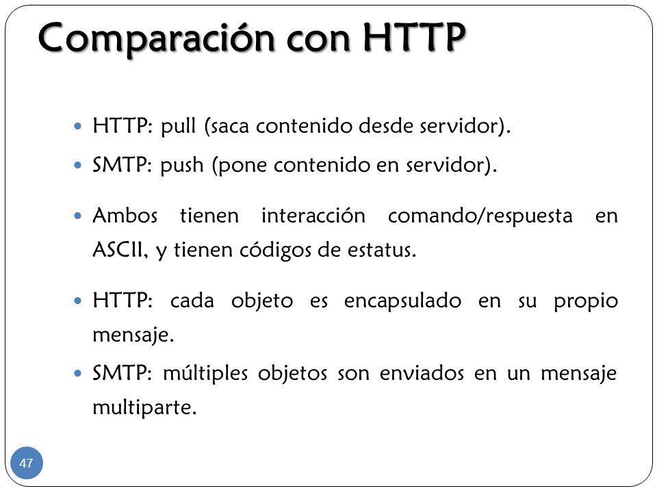 Comparación con HTTP HTTP: pull (saca contenido desde servidor). SMTP: push (pone contenido en servidor). Ambos tienen interacción comando/respuesta e