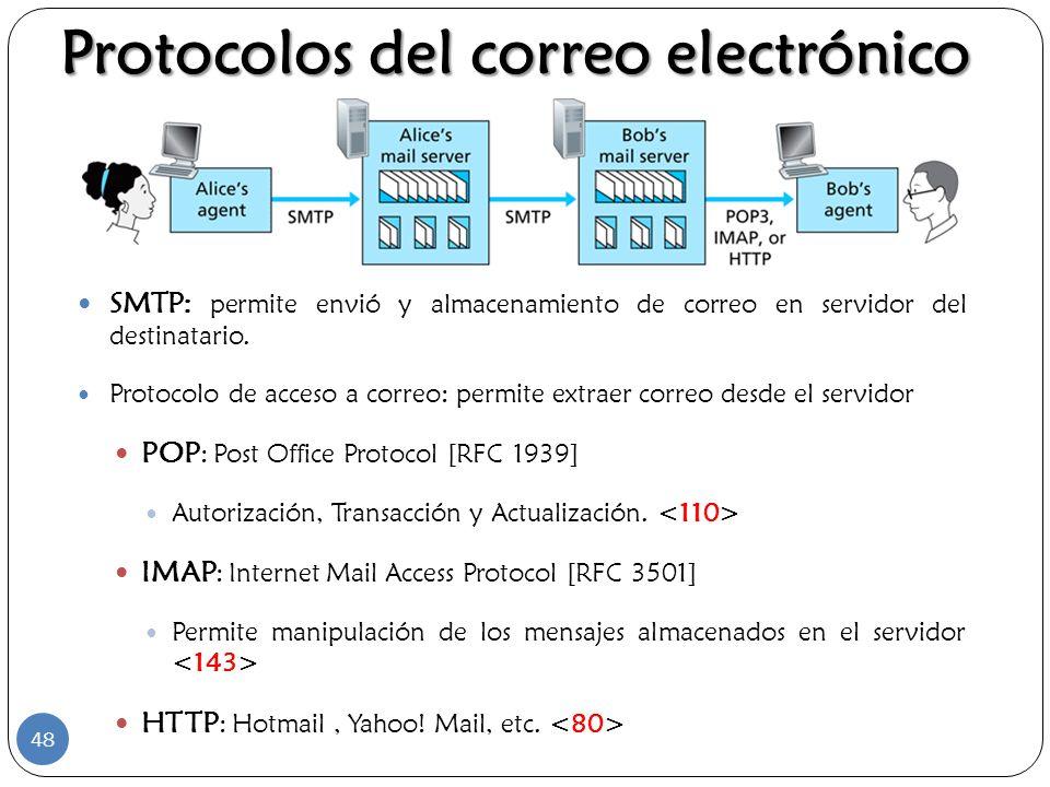 SMTP: permite envió y almacenamiento de correo en servidor del destinatario. Protocolo de acceso a correo: permite extraer correo desde el servidor PO