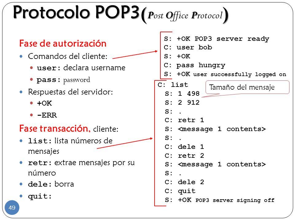 Protocolo POP3 ( POP ) Protocolo POP3 ( Post Office Protocol ) Fase de autorización Comandos del cliente: user: declara username pass: password Respue
