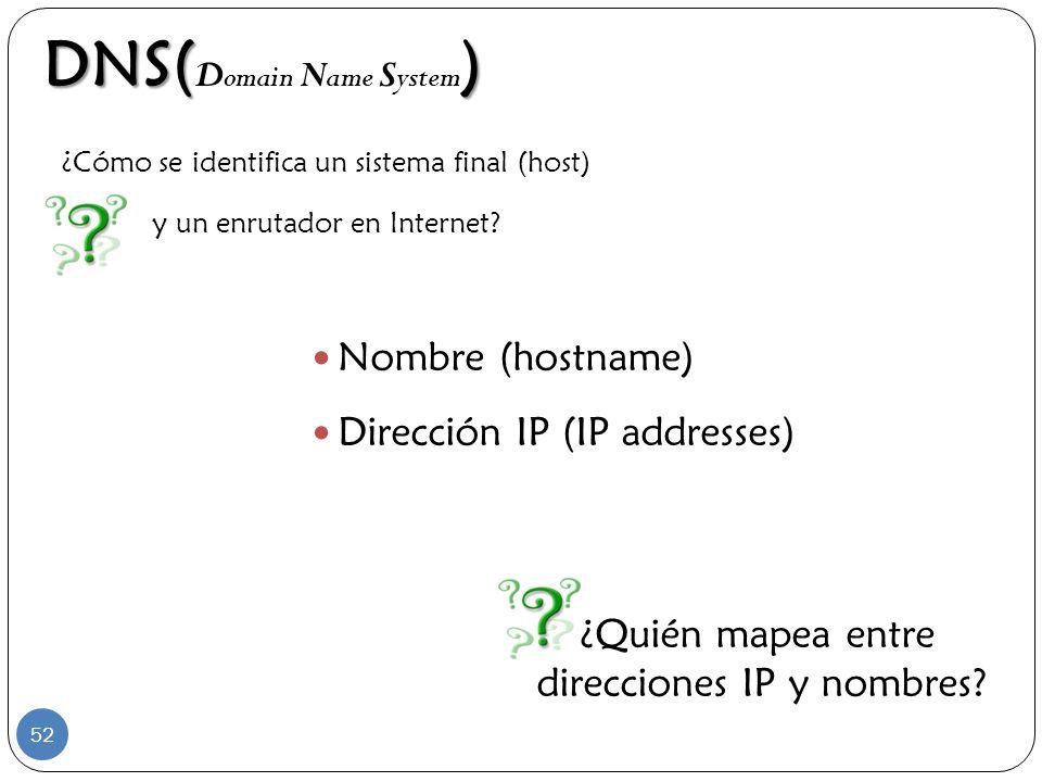 DNS() DNS( D omain N ame S ystem ) Nombre (hostname) Dirección IP (IP addresses) ¿Cómo se identifica un sistema final (host) y un enrutador en Interne