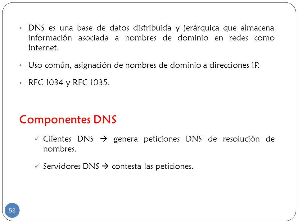 DNS es una base de datos distribuida y jerárquica que almacena información asociada a nombres de dominio en redes como Internet. Uso común, asignación