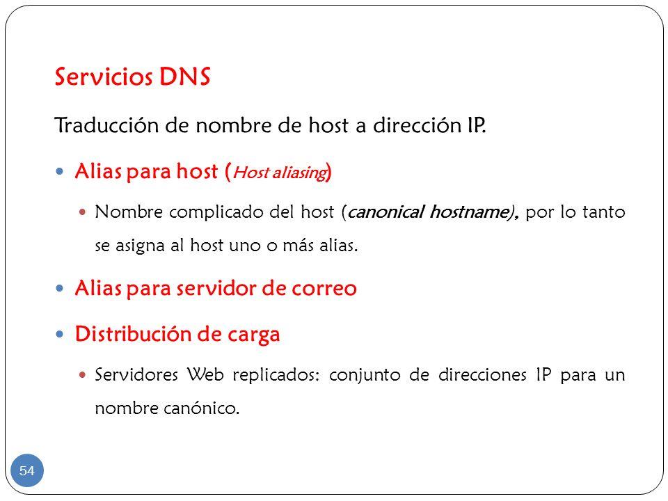 Servicios DNS Traducción de nombre de host a dirección IP. Alias para host ( Host aliasing ) Nombre complicado del host (canonical hostname), por lo t