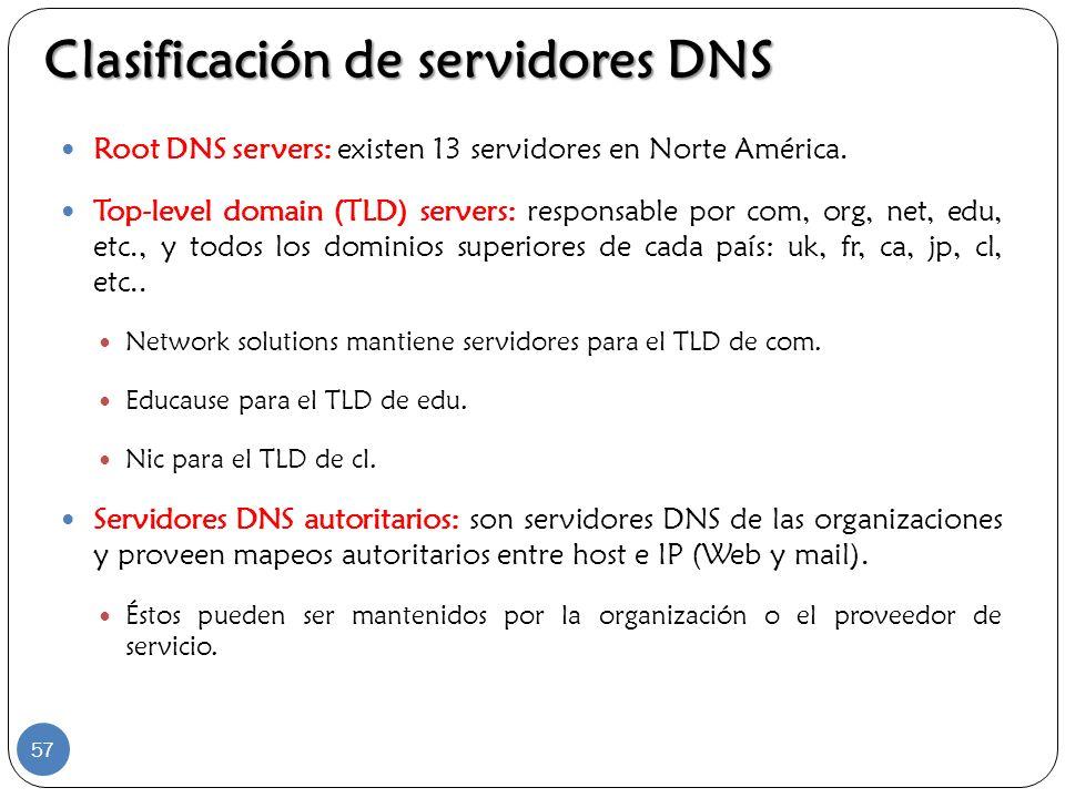 Clasificación de servidores DNS Root DNS servers: existen 13 servidores en Norte América. Top-level domain (TLD) servers: responsable por com, org, ne