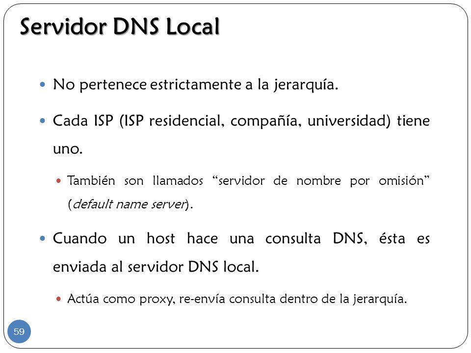 Servidor DNS Local No pertenece estrictamente a la jerarquía. Cada ISP (ISP residencial, compañía, universidad) tiene uno. También son llamados servid