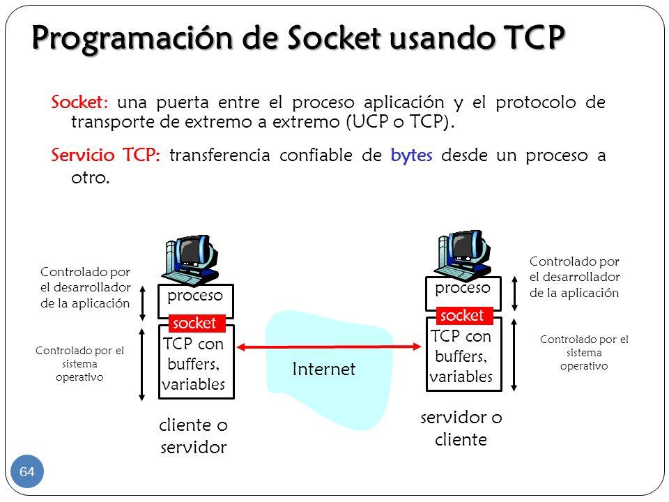 Programación de Socket usando TCP Socket: una puerta entre el proceso aplicación y el protocolo de transporte de extremo a extremo (UCP o TCP). Servic