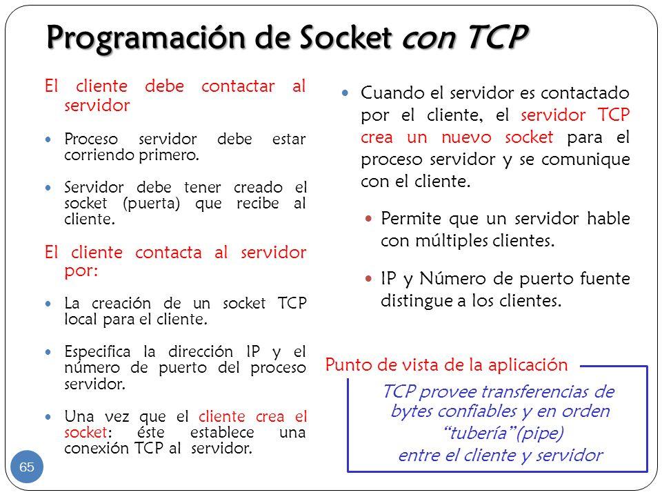 Programación de Socket con TCP El cliente debe contactar al servidor Proceso servidor debe estar corriendo primero. Servidor debe tener creado el sock