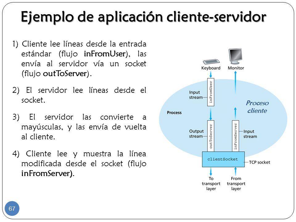 Ejemplo de aplicación cliente-servidor 1) Cliente lee líneas desde la entrada estándar (flujo inFromUser), las envía al servidor vía un socket (flujo