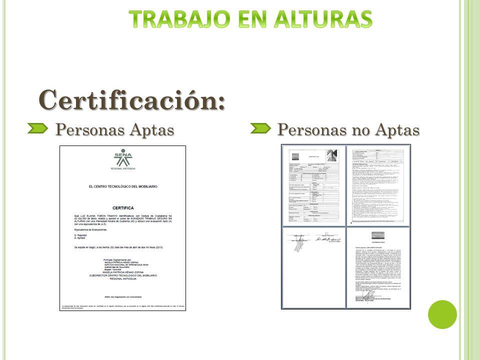 Certificación: - Personas Aptas - Personas no Aptas