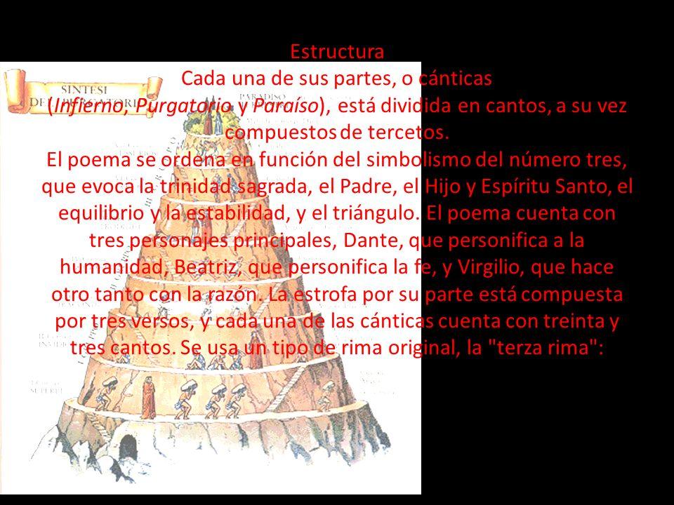 Estructura Cada una de sus partes, o cánticas (Infierno, Purgatorio y Paraíso), está dividida en cantos, a su vez compuestos de tercetos.