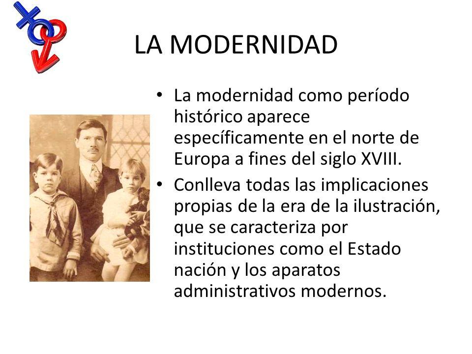 LA MODERNIDAD La modernidad como período histórico aparece específicamente en el norte de Europa a fines del siglo XVIII. Conlleva todas las implicaci