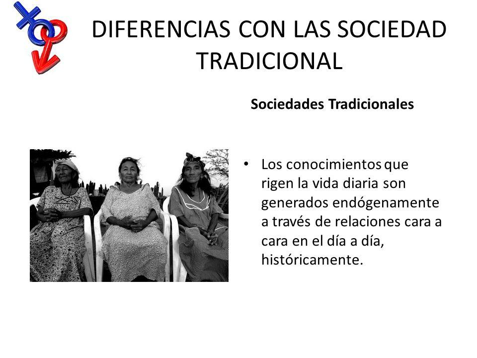 DIFERENCIAS CON LAS SOCIEDAD TRADICIONAL Sociedades Tradicionales Los conocimientos que rigen la vida diaria son generados endógenamente a través de r