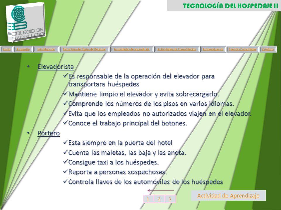 Elevadorista Elevadorista Es responsable de la operación del elevador para transportara huéspedes Es responsable de la operación del elevador para tra
