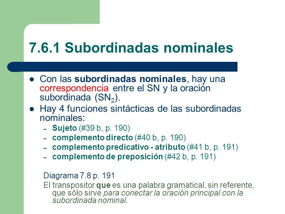 7.6.1 Subordinadas nominales Con las subordinadas nominales, hay una correspondencia entre el SN y la oración subordinada (SN 2 ). Hay 4 funciones sin