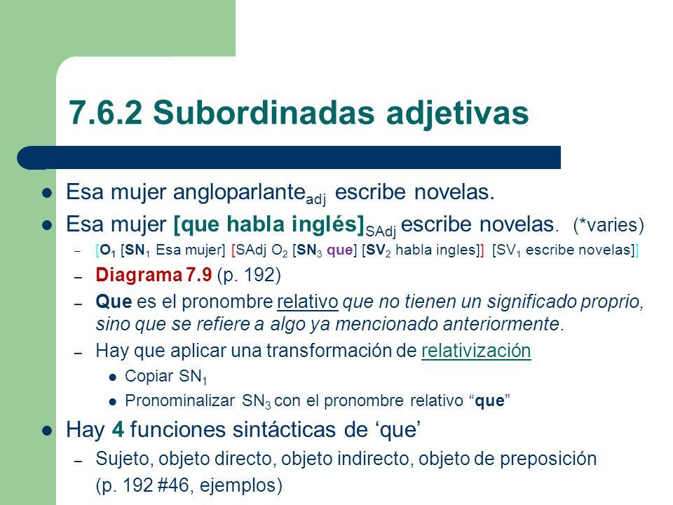 7.6.2 Subordinadas adjetivas Esa mujer angloparlante adj escribe novelas. Esa mujer [que habla inglés] SAdj escribe novelas. (*varies) – [O 1 [SN 1 Es