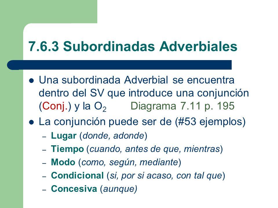 7.6.3 Subordinadas Adverbiales Una subordinada Adverbial se encuentra dentro del SV que introduce una conjunción (Conj.) y la O 2 Diagrama 7.11 p. 195