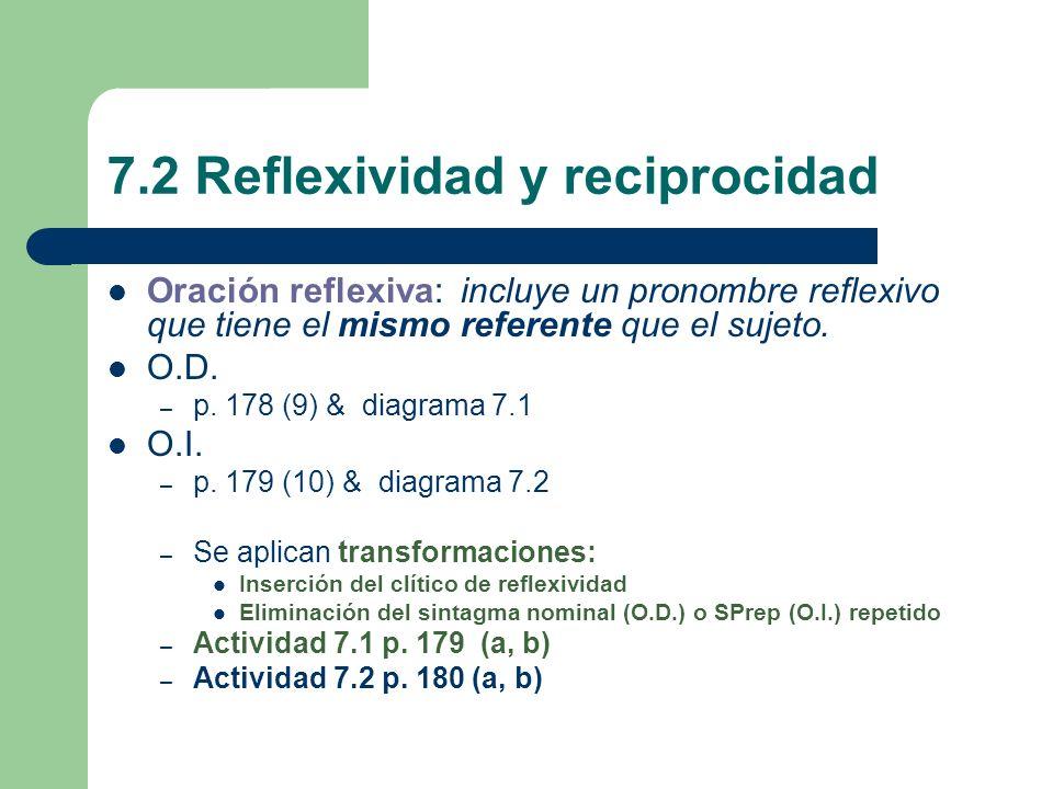 7.2 Reflexividad y reciprocidad Oración reflexiva: incluye un pronombre reflexivo que tiene el mismo referente que el sujeto. O.D. – p. 178 (9) & diag