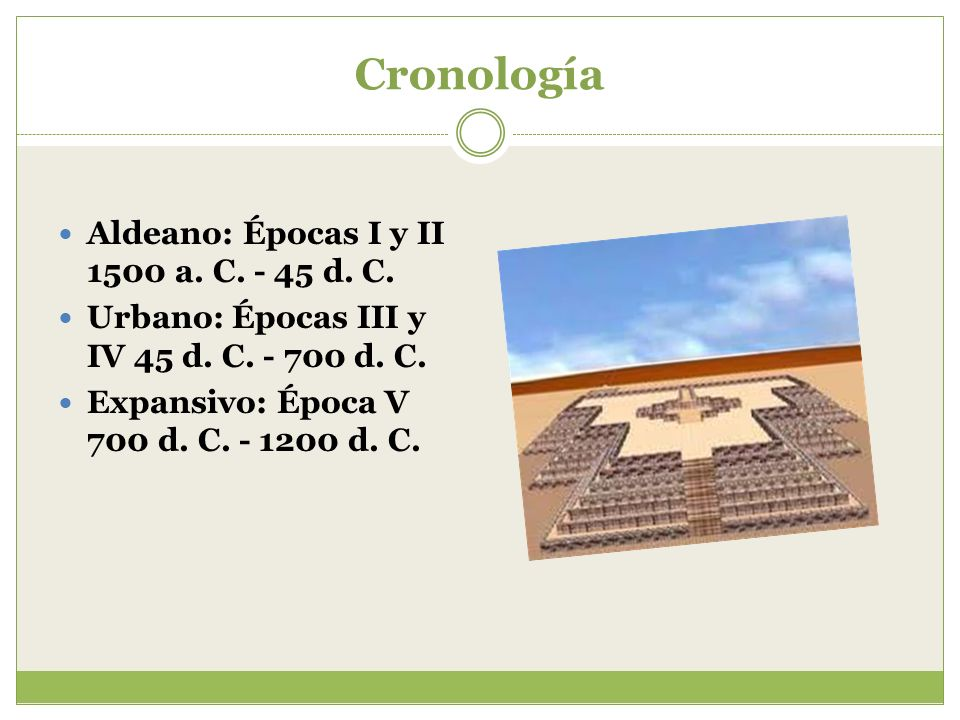Cronología Aldeano: Épocas I y II 1500 a. C. - 45 d. C. Urbano: Épocas III y IV 45 d. C. - 700 d. C. Expansivo: Época V 700 d. C. - 1200 d. C.