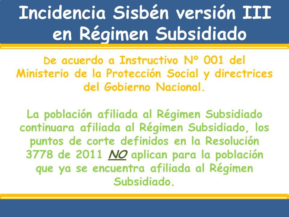 Incidencia Sisbén versión III en Régimen Subsidiado D e acuerdo a Instructivo N° 001 del Ministerio de la Protección Social y directrices del Gobierno