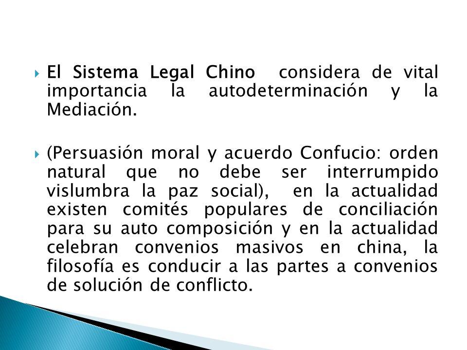 El Sistema Legal Chino considera de vital importancia la autodeterminación y la Mediación. (Persuasión moral y acuerdo Confucio: orden natural que no