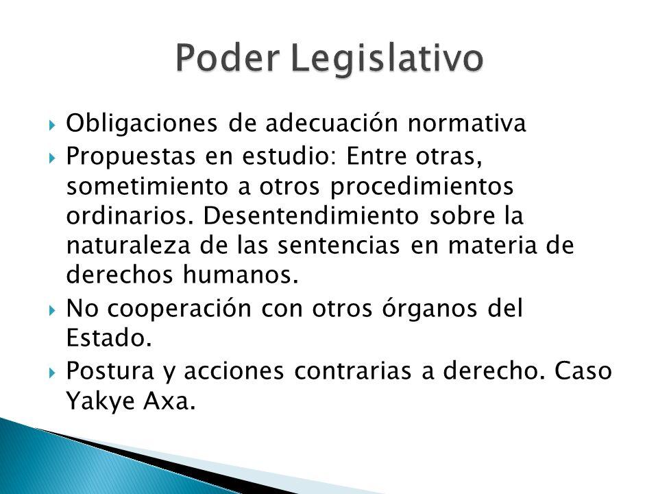 Obligaciones de adecuación normativa Propuestas en estudio: Entre otras, sometimiento a otros procedimientos ordinarios. Desentendimiento sobre la nat