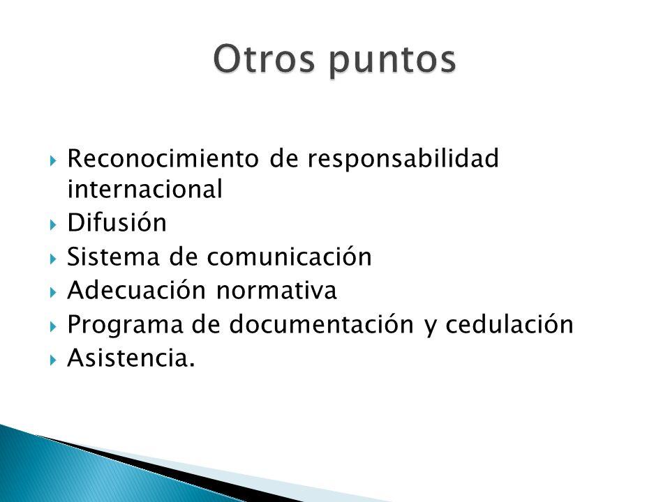 Reconocimiento de responsabilidad internacional Difusión Sistema de comunicación Adecuación normativa Programa de documentación y cedulación Asistenci