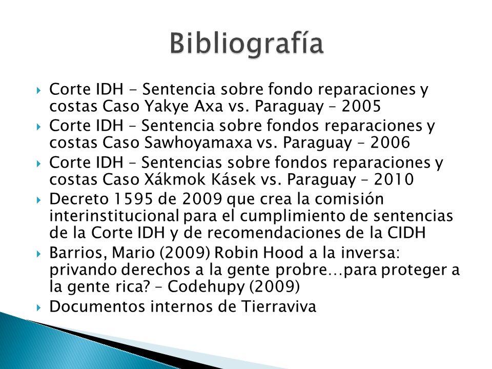 Corte IDH - Sentencia sobre fondo reparaciones y costas Caso Yakye Axa vs. Paraguay – 2005 Corte IDH – Sentencia sobre fondos reparaciones y costas Ca
