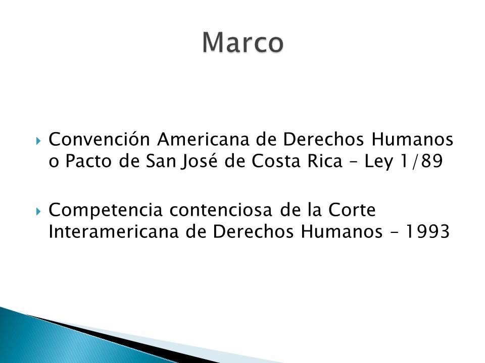 Convención Americana de Derechos Humanos o Pacto de San José de Costa Rica – Ley 1/89 Competencia contenciosa de la Corte Interamericana de Derechos H