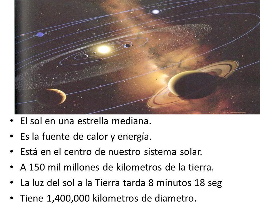 El sol en una estrella mediana. Es la fuente de calor y energía. Está en el centro de nuestro sistema solar. A 150 mil millones de kilometros de la ti