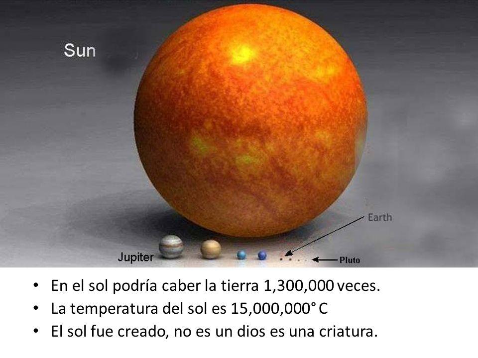 En el sol podría caber la tierra 1,300,000 veces. La temperatura del sol es 15,000,000° C El sol fue creado, no es un dios es una criatura.