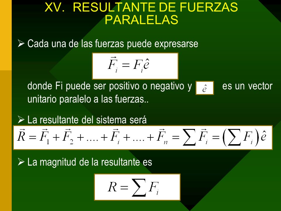 XV.RESULTANTE DE FUERZAS PARALELAS Cada una de las fuerzas puede expresarse donde Fi puede ser positivo o negativo y es un vector unitario paralelo a