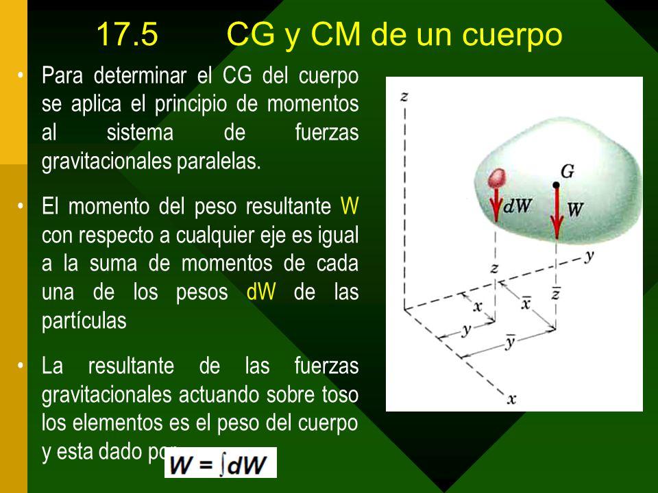 17.5CG y CM de un cuerpo Para determinar el CG del cuerpo se aplica el principio de momentos al sistema de fuerzas gravitacionales paralelas. El momen