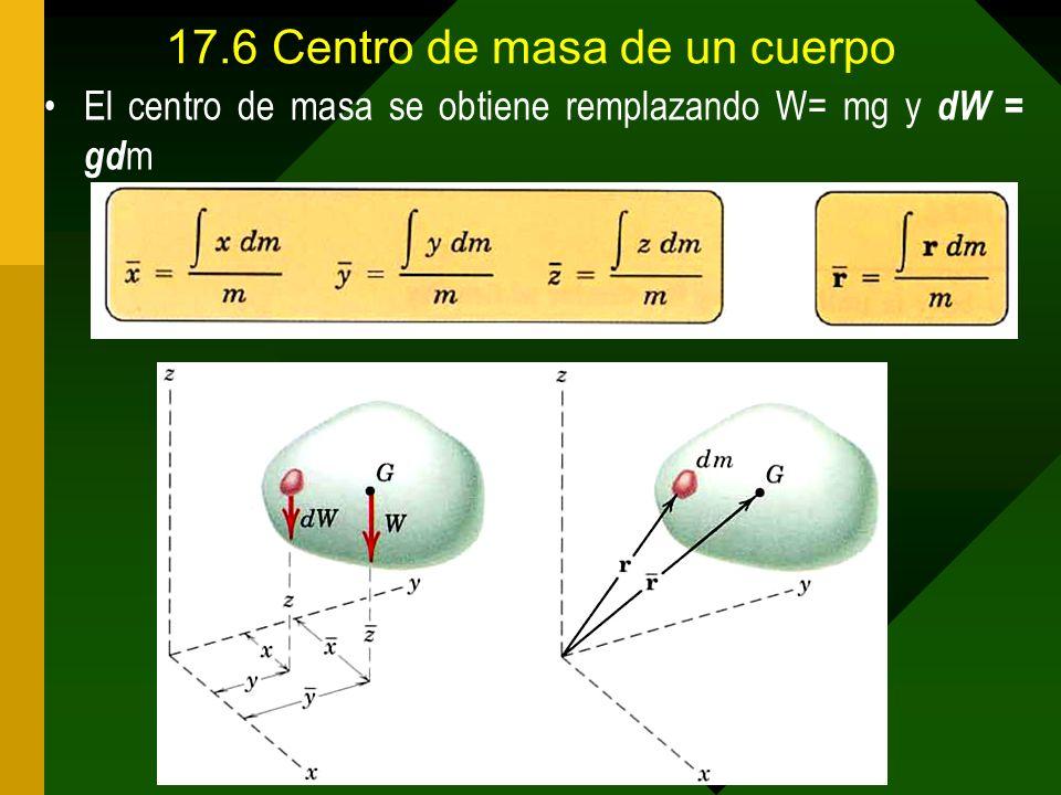 17.6Centro de masa de un cuerpo El centro de masa se obtiene remplazando W= mg y dW = gd m