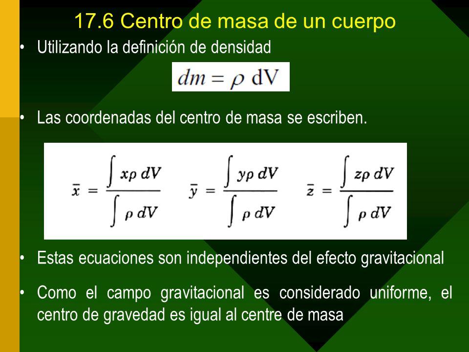 17.6Centro de masa de un cuerpo Utilizando la definición de densidad Las coordenadas del centro de masa se escriben. Estas ecuaciones son independient