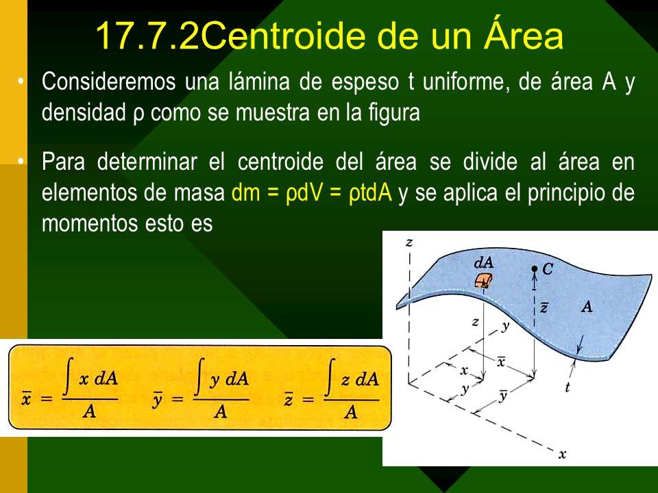 17.7.2Centroide de un Área Consideremos una lámina de espeso t uniforme, de área A y densidad ρ como se muestra en la figura Para determinar el centro