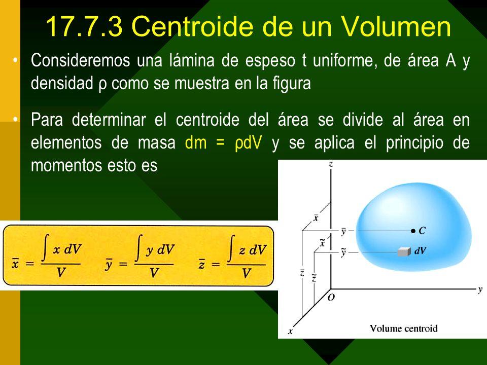 17.7.3 Centroide de un Volumen Consideremos una lámina de espeso t uniforme, de área A y densidad ρ como se muestra en la figura Para determinar el ce