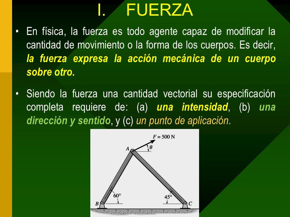I.FUERZA En física, la fuerza es todo agente capaz de modificar la cantidad de movimiento o la forma de los cuerpos. Es decir, la fuerza expresa la ac