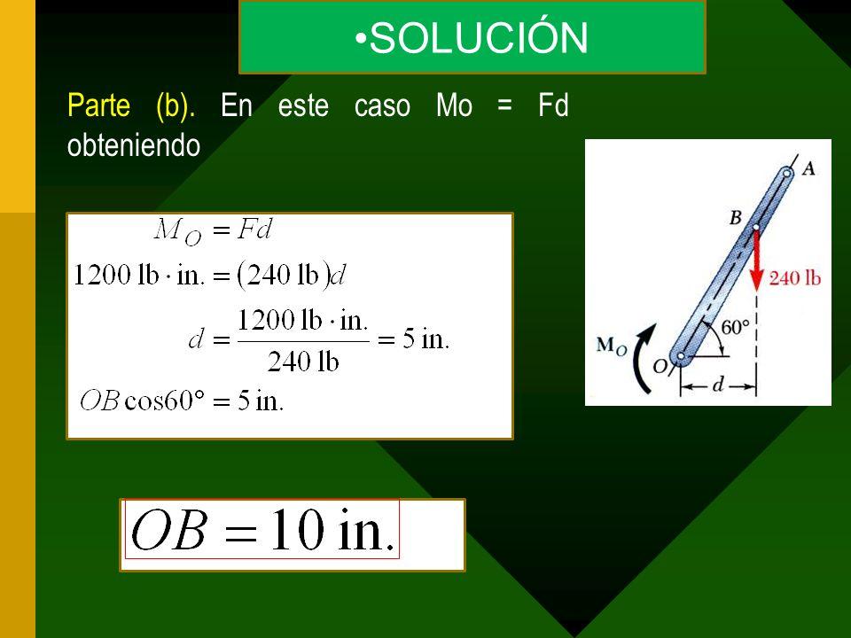 Parte (b). En este caso Mo = Fd obteniendo SOLUCIÓN
