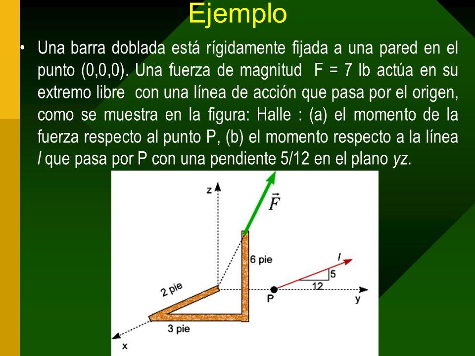Ejemplo Una barra doblada está rígidamente fijada a una pared en el punto (0,0,0). Una fuerza de magnitud F = 7 lb actúa en su extremo libre con una l
