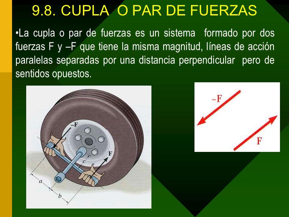 9.8.CUPLA O PAR DE FUERZAS La cupla o par de fuerzas es un sistema formado por dos fuerzas F y –F que tiene la misma magnitud, líneas de acción parale