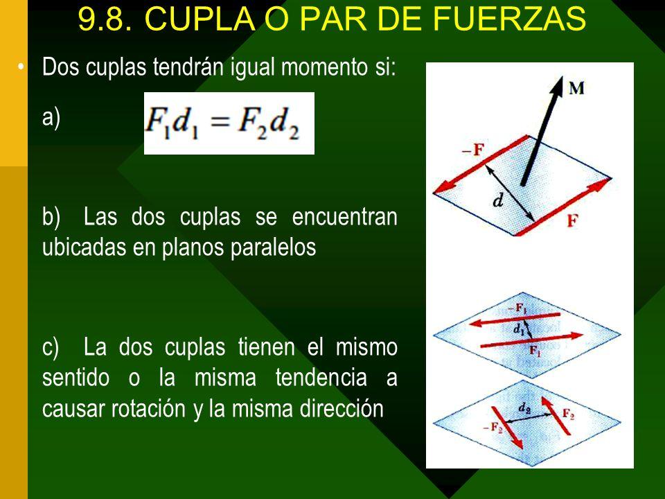 9.8.CUPLA O PAR DE FUERZAS Dos cuplas tendrán igual momento si: a) b)Las dos cuplas se encuentran ubicadas en planos paralelos c)La dos cuplas tienen
