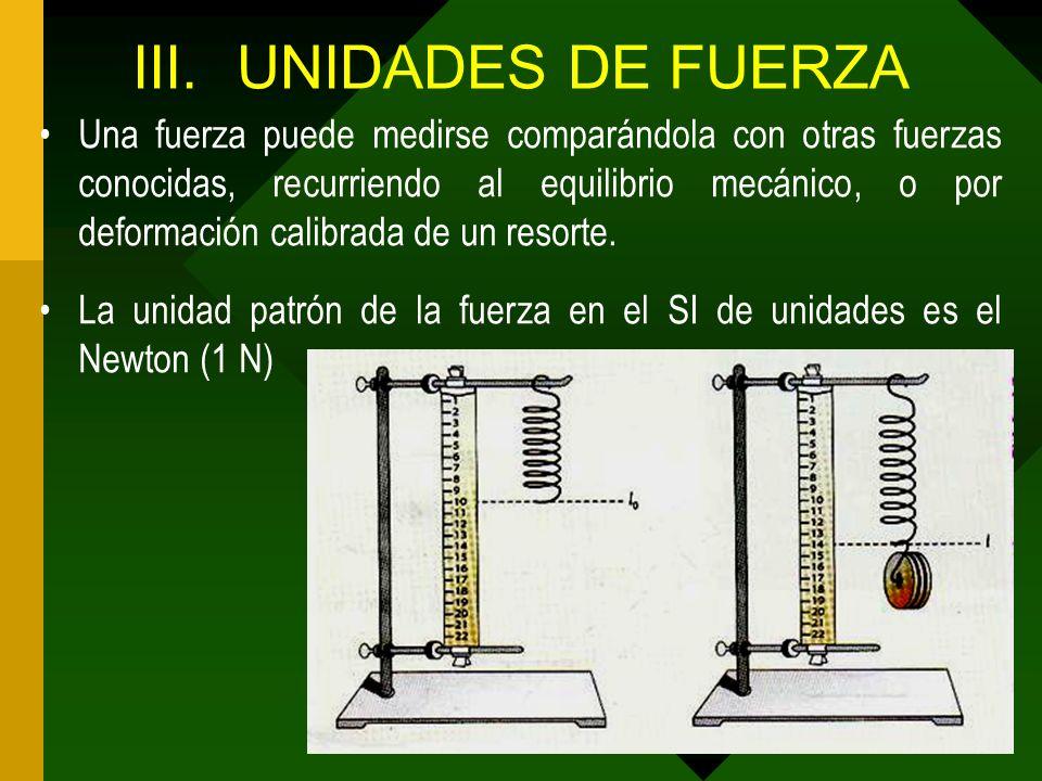 III.UNIDADES DE FUERZA Una fuerza puede medirse comparándola con otras fuerzas conocidas, recurriendo al equilibrio mecánico, o por deformación calibr