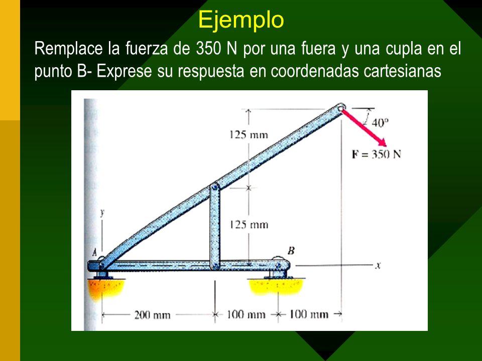 Ejemplo Remplace la fuerza de 350 N por una fuera y una cupla en el punto B- Exprese su respuesta en coordenadas cartesianas
