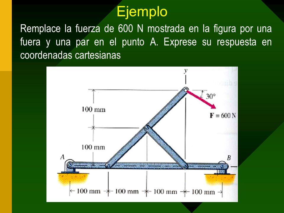 Ejemplo Remplace la fuerza de 600 N mostrada en la figura por una fuera y una par en el punto A. Exprese su respuesta en coordenadas cartesianas
