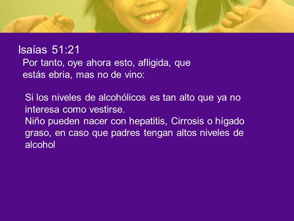 Isaías 51:21 Por tanto, oye ahora esto, afligida, que estás ebria, mas no de vino: Si los niveles de alcohólicos es tan alto que ya no interesa como v