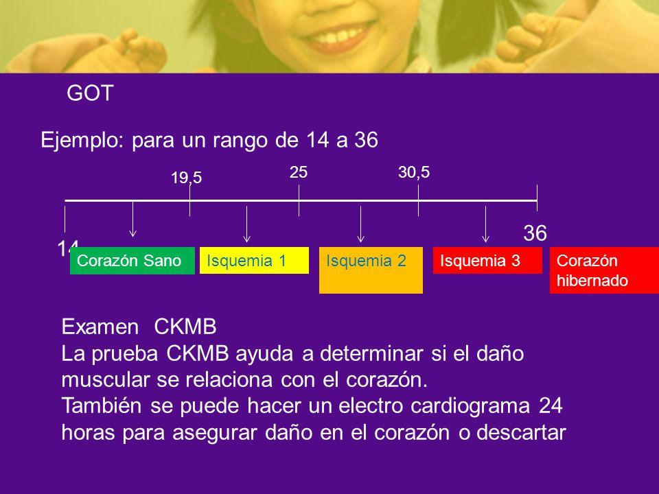 GOT Ejemplo: para un rango de 14 a 36 14 36 Examen CKMB La prueba CKMB ayuda a determinar si el daño muscular se relaciona con el corazón. También se