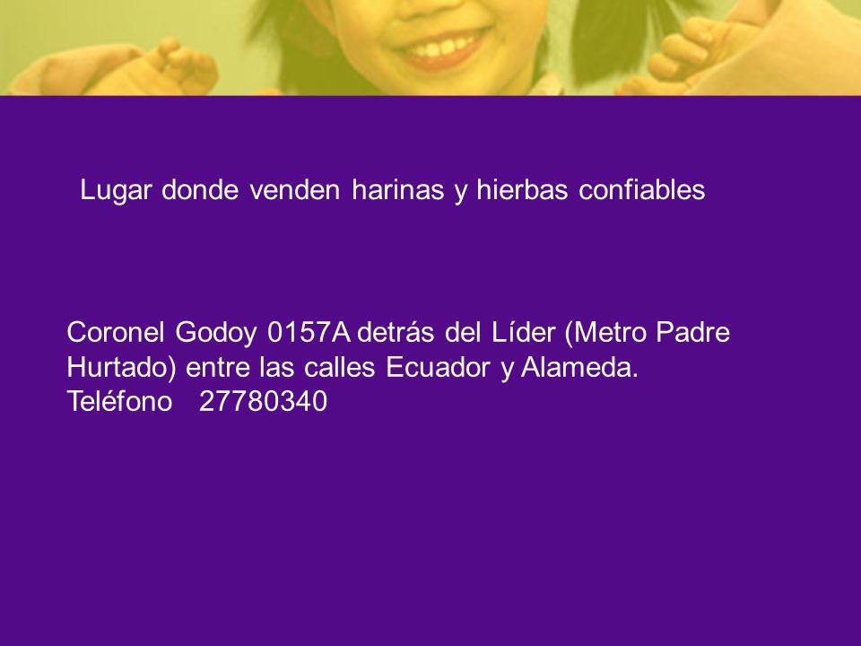 Coronel Godoy 0157A detrás del Líder (Metro Padre Hurtado) entre las calles Ecuador y Alameda. Teléfono 27780340 Lugar donde venden harinas y hierbas