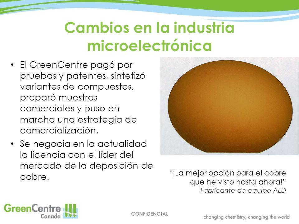 Cambios en la industria microelectrónica CONFIDENCIAL El GreenCentre pagó por pruebas y patentes, sintetizó variantes de compuestos, preparó muestras