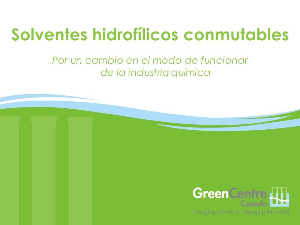 Por un cambio en el modo de funcionar de la industria química Solventes hidrofílicos conmutables